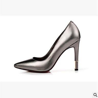 SANMULYH Donne'S Scarpe Pu Primavera Estate Comfort Tacchi Stiletto Heel Punta Punta Chiusa Per Casual Rosso Nero Argento Argento