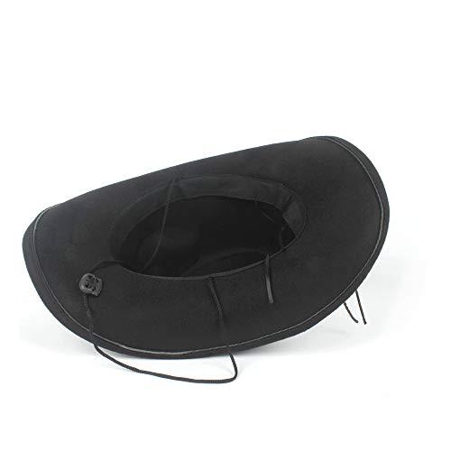 ZHENGYIXIA HAT Für Damenhüte Frauen Männer Wolle Leere Westerly Cowboyhut Für Gentleman Krempe Sombrero Cowgirl Cap Dad Hut (Farbe : Schwarz, Größe : 56-59cm)