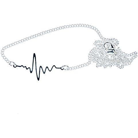 Electrocardiograma Corazón Impacto curva líneas cadena collar miniblings 45cm vida línea