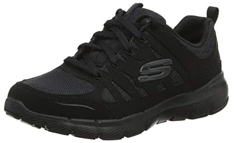 Skechers Damen Flex Appeal 3.0 13061-BBK Sneaker, Schwarz (Black Leather/Mesh/Trim BBK), 37 EU