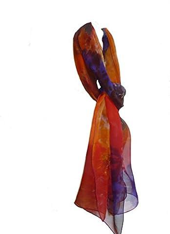 Purple Amber Blue Silk Georgette Long Lightweight Scarf