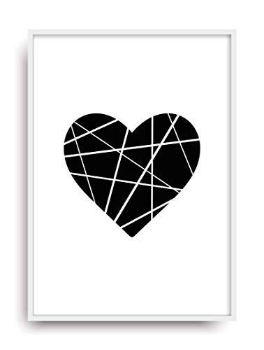 Kunstdruck ORIGAMI HERZ Poster Bild ungerahmt DIN A4 Plakat -