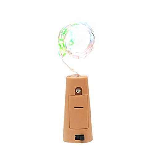 Kongnijiwa Cadena de luz del Vidrio de Vino 1.5m energía Solar LED DIY Cork Forma de Botella de Alambre de Cobre del tapón del Vino de la lámpara