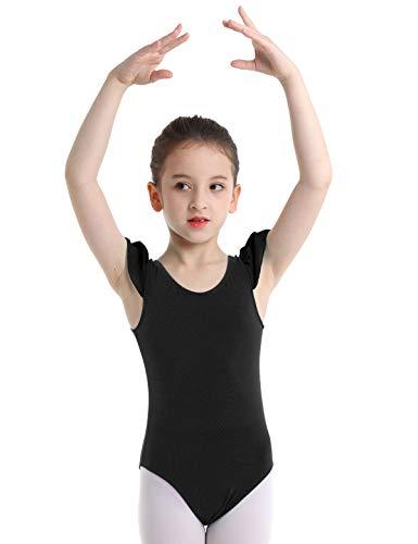 YOOJIA Maillot de Ballet Gimnasia Niñas Volante Manga Leotardo Clásico Danza Bodys Elástico Traje Bailarina Infantil Negro 2-3Años