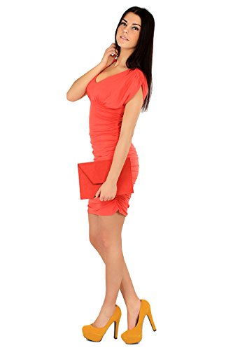Damen Elegantes Minikleid Mit Raffungen V-Ausschnitt Abendkleid Cocktailkleid Gr. S M L 36 38 40, 3911 Koralle