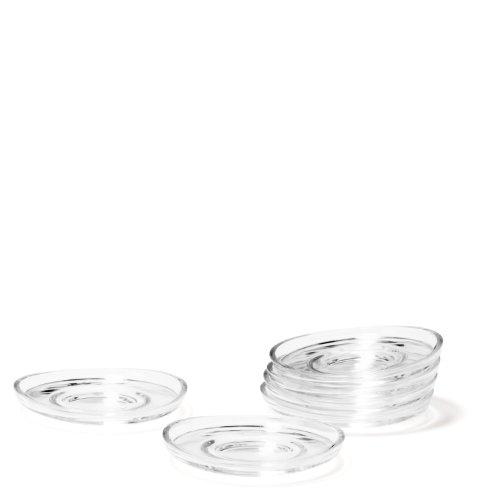 Leonardo Loop Untersetzer, 6-er Set, Durchmesser 10,5 cm, spülmaschinengeeignet, Klarglas, 058204