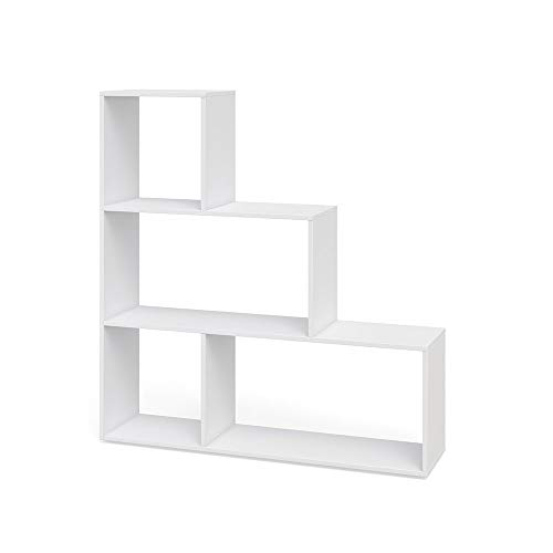 Vicco Treppenregal ASYM Raumteiler Bücherregal Standregal Aktenregal Hochregal Aufbewahrung Regal 4 Fächer (weiß)