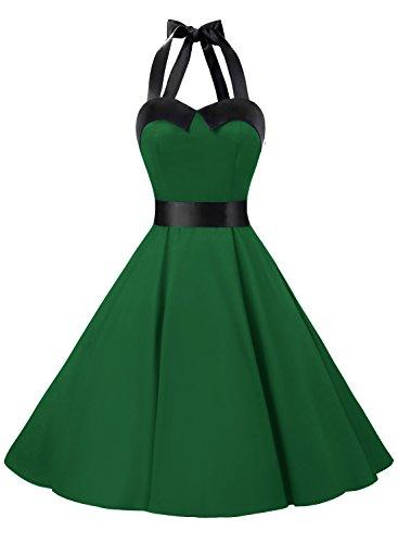EMG 01957 Robe de bal Polka Vintage pin-up à 'Audrey Hepburn' 50's 60's Rockabilly Halter,dos nu Vert MilitaireXS