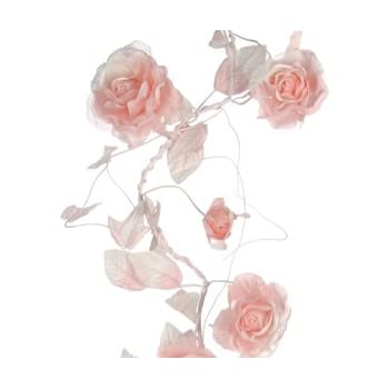 Shabby chic vintage pink artificial rose flower garland