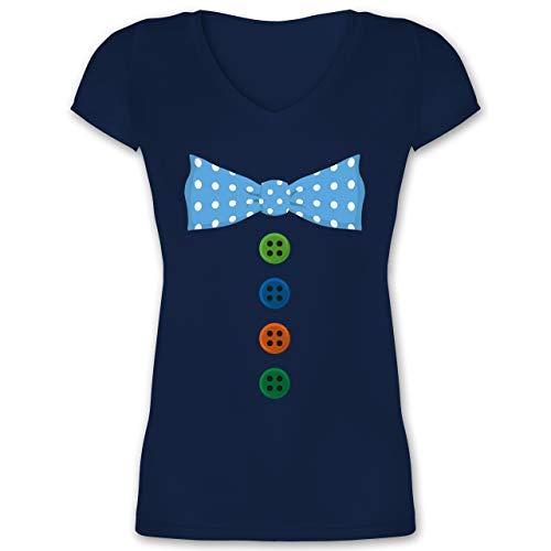 Witzbold Kostüm - Karneval & Fasching - Clown Kostüm Blaue Fliege - L - Dunkelblau - XO1525 - Damen T-Shirt mit V-Ausschnitt