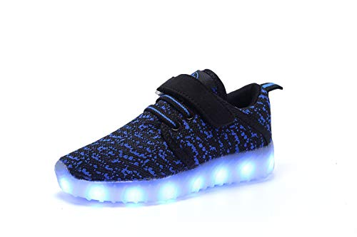 MOOKEY LED Light up Shoes Kids Boys Girls USB Charging Low Top Sneakers Flashing Shoes Toddler Casual Shoes Christmas Halloween 1233-Dark ()