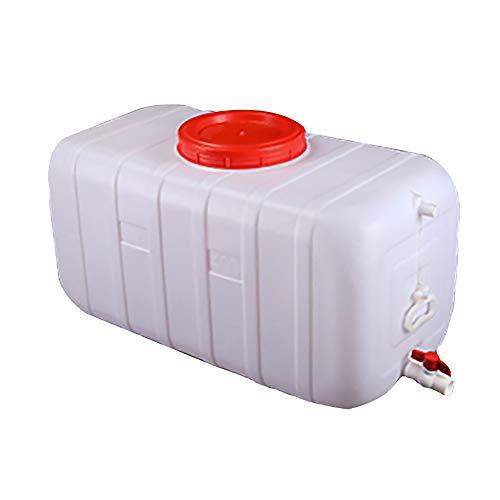 Depósito De Agua Con Grifo Recipiente De Almacenamiento De Agua De Plástico Grueso Grifo De Agua Portátil Exterior Barril De Vino Barril Químico Industrial, 25-150L,   blanco ( Size : 50L )