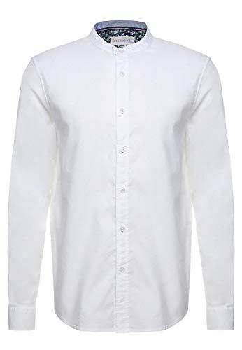 Pier One Herren Businesshemd - Regular Fit Hemd mit Langarm & Stehkragen - Anzughemd weiß in Größe L