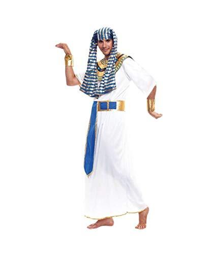 Disfraz de Egipcio o Faraón para . Incluye túnica blanca de manga corta y bordes dorados. El cinturón es azul y dorado, al igual que los brazaletes y el cuello. El tocado o gorro es de tela a rayas doradas y azules.