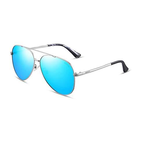 BYCSD Aviator Sonnenbrillen Herren Polarized Mirror - UV 400 Schutz 63MM M Unisex (Farbe : Silver/Ice Blue)