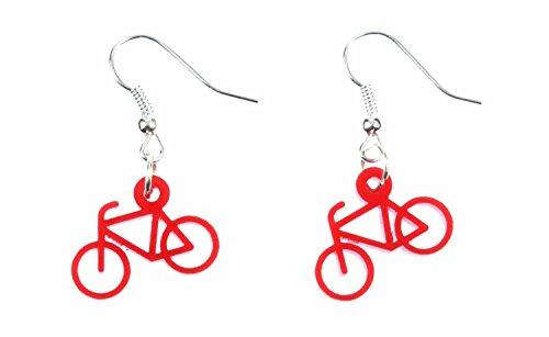 Fahrrad Ohrringe Hänger Miniblings Rad Rennrad Bike Radsport Sport Acrylglas rot -