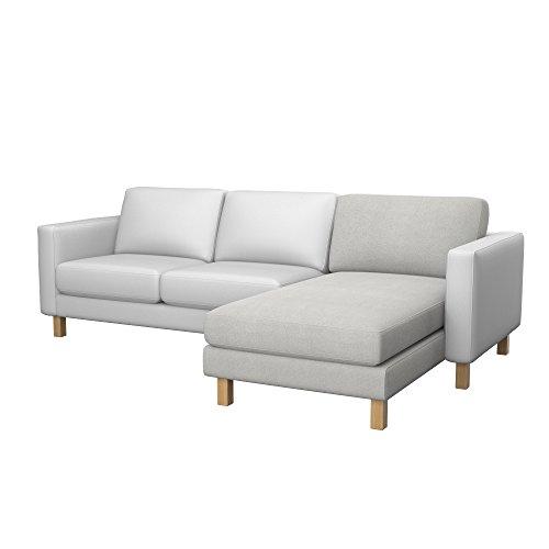 Soferia - Bezug fur Ikea KARLSTAD Anbau Recamiere, Glam Light Grey