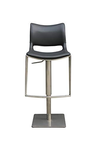 Meubletmoi Chaise de Bar réglable Simili Gris Anthracite piétement en métal Design Contemporain Moderne - Vita