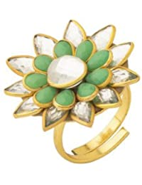 Voylla Traditional Brass With Yellow Gold Plated Faux Stone Rings For Women