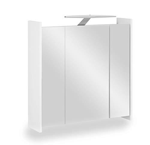 Galdem Elegance Spiegelschrank 70cm Badezimmerschrank Wandschrank Badmöbel 3 Spiegeltüren 6 Einlegeböden LED Beleuchtung mit Steckdose Weiß