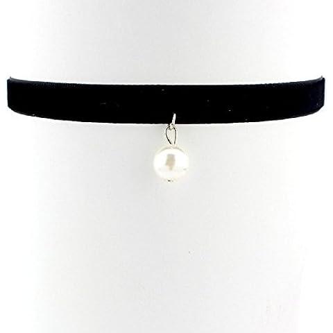 XJoel Plata Terciopelo Negro gótico cable de Gargantilla del encanto del collar retro pendiente de Boho tibetano