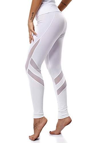 Mallas Pantalones Deportivos Leggings Mujer Yoga de Alta Cintura Elásticos y Transpirables para Yoga Running Fitness con Gran ElásticosG39k #8-Blanco...