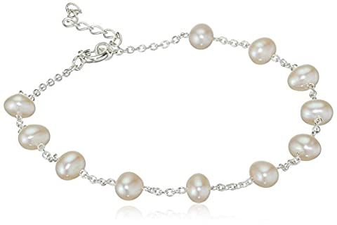 Elements Silver Ladies White Pearl Sterling Silver Bracelet Length of