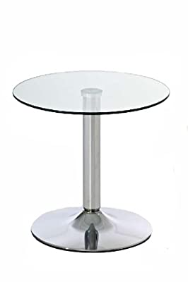 CLP Glas-Tisch IKARUS, rund, Durchmesser Ø 50 cm, Höhe 48 cm, Metallsäule in Chromoptik, mit Tischplatte aus Sicherheitsglas klarglas