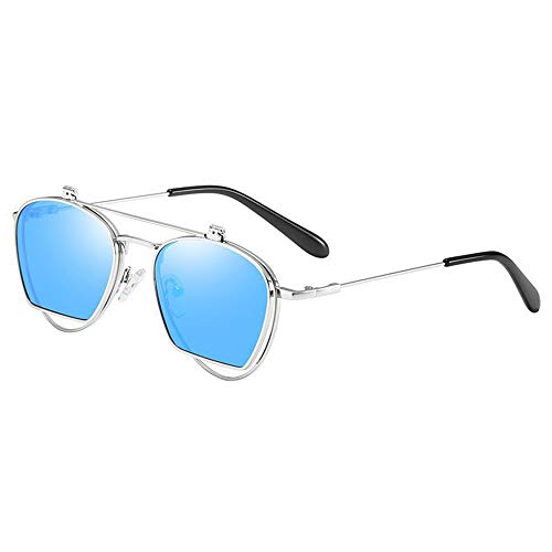 Lxc Mode Polarisierte Sonnenbrille Persönlichkeit Flip Brille Metall Halbrahmen Doppelobjektiv Uv400 Schutz Unisex Silberrahmen Blaue Linse Zeige Temperament