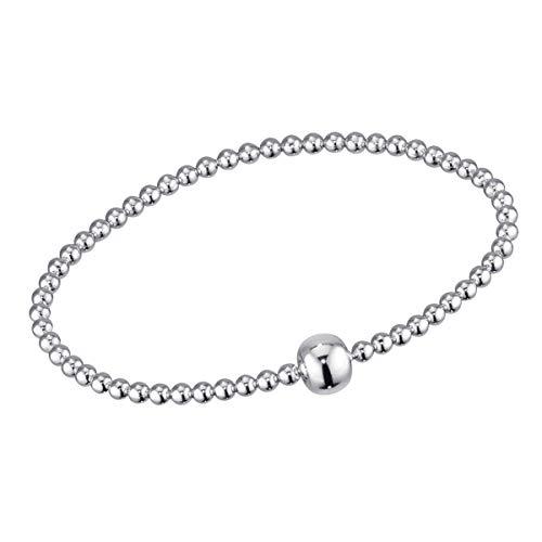 MATERIA Silber Perlen Armband Frauen Mädchen - 925 Echtsilber Strechtarmband Kugeln 17-24cm mit Geschenk-Box SA-37