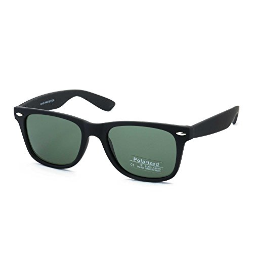 Stacle Polarized UV Protected Unisex Wayfarer Sunglasses (STPOL8223|50|Green Lens, Medium)