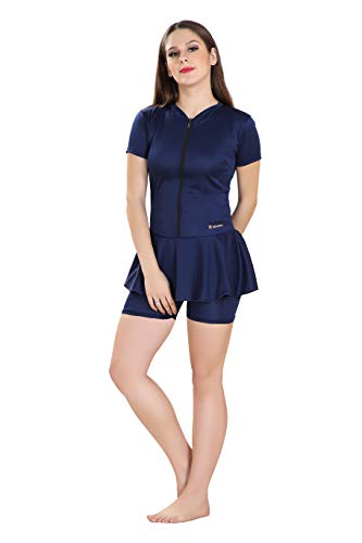 Rovars Poly Jersy - Swimming Costume for Women Frock Style [Half Sleeves- Half Length] with Front Zipper Navy Blue