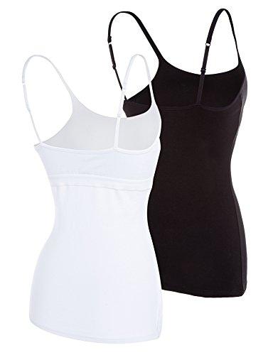 Attraco Damen 2er Pack BH Hemd Träger Top Baumwolle Ultra Soft Schwarz Weiß
