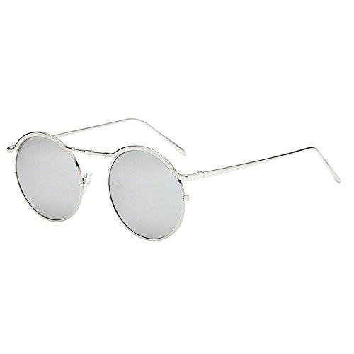 FeiliandaJJ Mode Sonnenbrille Rund UV Schutz Metallrahmen Retro Damen Herren Reise Sonnenbrille Unisex Sunglasses (D)