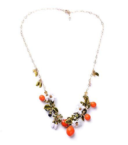 XZZZBXL Damenhalskette Stil Schicke Orange Frucht Emaille Blumen Blätter Süße Damen Halskette Legierung Halskette Frauen Accessoires Vintage Schmuck