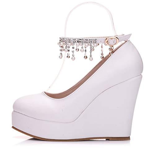 YAN Frauen Wedge Schuhe PU High Heels Schuhe Beaded Chain Chain Strap Schuhe Kleider Schuhe Hochzeit Party & Abend,White,36 Beaded High Heel Heels