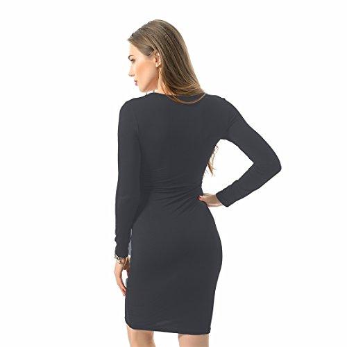 QIYUN.Z Les Femmes a Manches Longues Poitrine Bandage Moulante Clubwear Parti Robe De Cou Mince En V Profond Gris fonce
