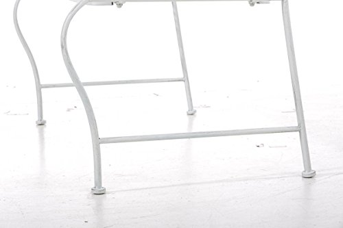 CLP Metall Gartenbank TUAN, 2-er Sitz-Bank Garten, Eisen lackiert, Design nostalgisch antik, 105 x 50 cm Antik Weiß - 8
