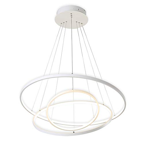 Lampadario,KOONTING® Design Moderno LED 110W Lampadario a sospensione,Metallo e acrilico Lampadario,4000K,Natura Bianco(40+60+80CM).