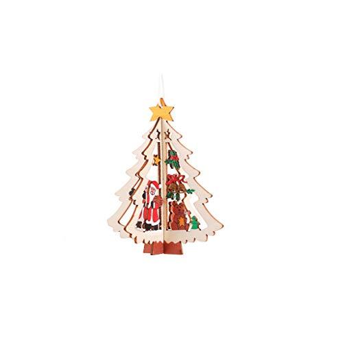 WOBANG Weihnachten Deko - Christmas Weihnachtsbaum Bell Pentagramm Form Holz Engel Anhänger mit Herz weiß Gold Silber rot Baumschmuck Christbaumanhänger Glücksbringer Dekoration Vintage (A)