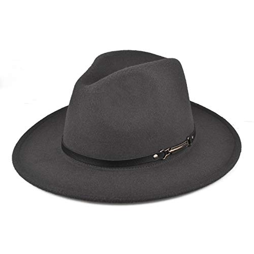 1231fe2f7 EINSKEY Fedora Hats with Belt Buckle Unisex Wide Brim Cotton Panama Trilby  Hat Grey