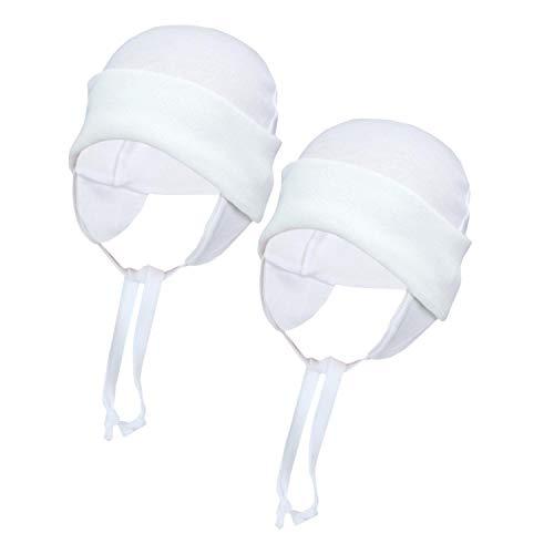 TupTam Baby Erstlingsmütze mit Ohrenklappen 2er Pack, Farbe: Weiß, Größe: 50/56