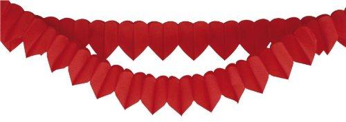Papier - Herzgirlande rot, 360 cm