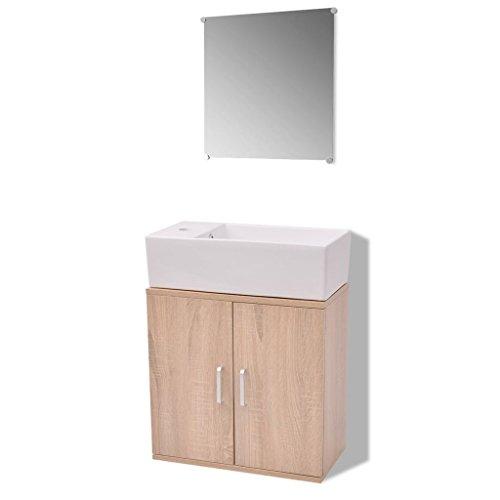 vidaXL Set Completo de Mobiliario de Baño con Lavabo Pack de 3 Unidades de Color Beige