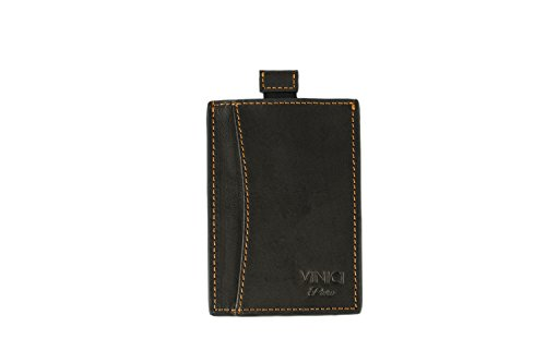 Geldklammer Kreditkartenetui aus hochwertigem Leder I RFID Blocker I Kartenetui mit Geldklammer modern Design I Kartenhalter für 6 Karten (Schwarz)