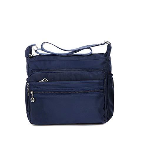NOTAG Damen Umhängetasche, Wasserdicht Nylon Schultertasche Multi-Tasche Messenger Bag 2 Size (Blau, L) -