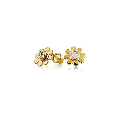 Winzige Minimalistischen Daisy Flower Ohrstecker Für Damen Zirkonia Echten 14K Gelb Gold Schraubverschluss Ohrringe - Diamant-ohrringe Für Screwback