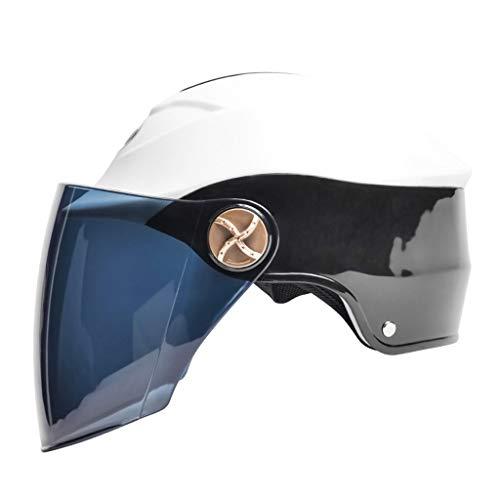 NJ Helm- Elektrischer Motorradhelm, Unisex-Regen- und UV-Schutzhelm, braune Linse (Color : Black, Size : 23x32cm)