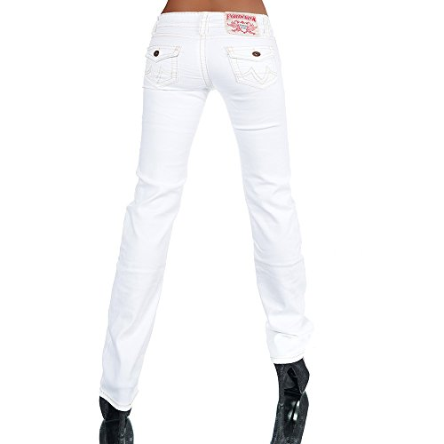 H922 Damen Bootcut Jeans Hose Damenjeans Hüftjeans Gerades Bein Dicke Naht Nähte, Farben:Weiß;Größen:40 (L) -