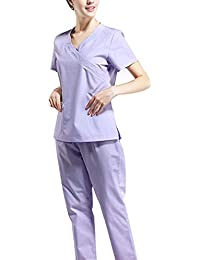 Uniforme Médico, Uniformes Casaca Y Pantalón de Algodón Puro Ropa Quirúrgica de Manga Corta Bata